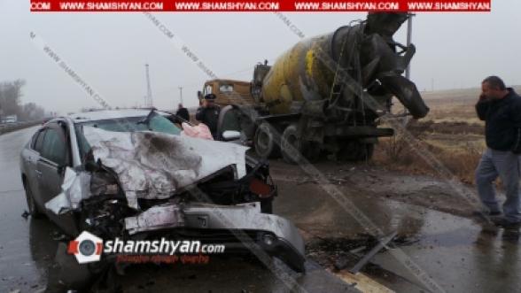 Արագածոտնի մարզում Nissan Teana-ն մխրճվել է КамАЗ-ի մեջ. կան վիրավորներ