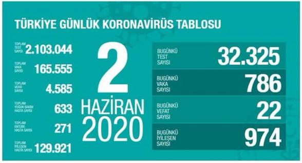 Թուրքիայում կորոնավիրուսով վարակվածների թիվը հատել է 165․000-ի սահմանը