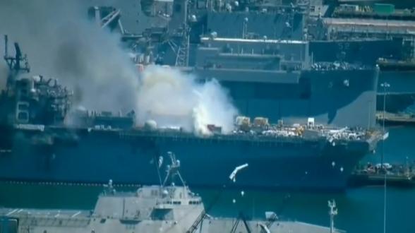 Пожар на военном корабле в Сан-Диего может продолжаться несколько дней