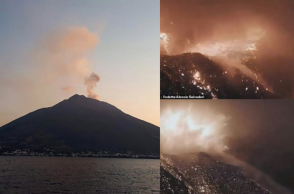 Իտալիայում տեսախցիկը ֆիքսել է Ստրոմբոլի հրաբխի «դրամատիկ» ժայթքման պահը