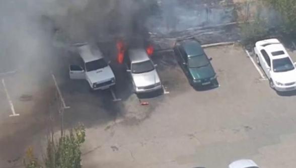 Աշտարակ քաղաքում այրվում են ավտոմեքենաներ