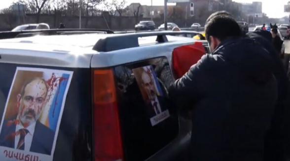 Փաշինյանի հրաժարականը պահանջող քաղաքացիների ավտոերթը (տեսանյութ)