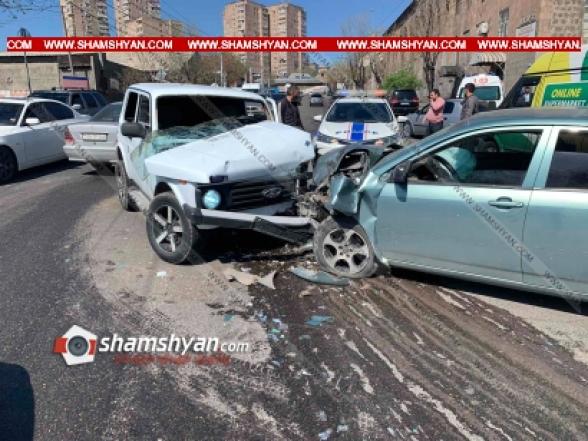 Երևանում բախվել են Toyota Corolla-ն, Нива-ն ու Ford Transit-ը. 5 վիրավորների մեջ կան երեխաներ