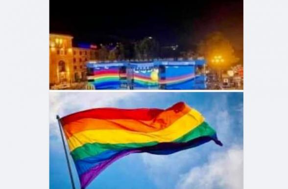 Կապիտուլյանտը այս դրոշը ֆռացնելով Հանրապետության հրապարակում, խնդրում է LGBT-ի համայնքին ընտրություններում իրեն սատարել